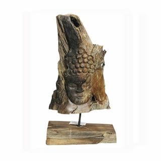 Alluring Wooden Buddha on Base-Natural - Benzara