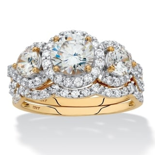 Round Cubic Zirconia 2-Piece Triple Halo Wedding Ring Set 2.95 TCW in Solid 10k Yellow Gold Classic CZ