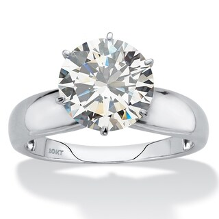 Round Cubic Zirconia Solitaire Engagement Ring 3.50 TCW in Solid 10k White Gold Classic CZ