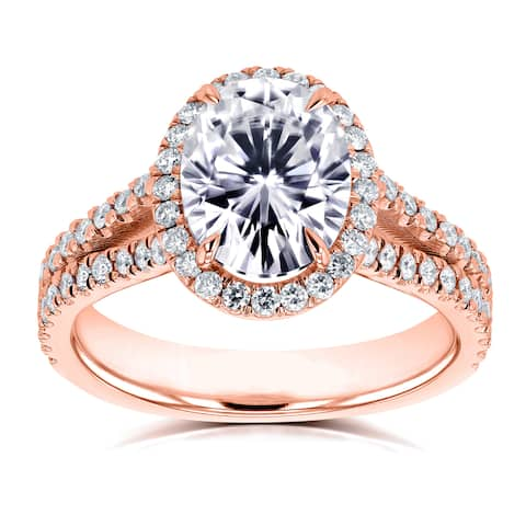 Annello by Kobelli 14k Rose Gold Oval Forever One Colorless (DEF) Moissanite and 1/2ct TDW Diamond Halo Split Shank Ring