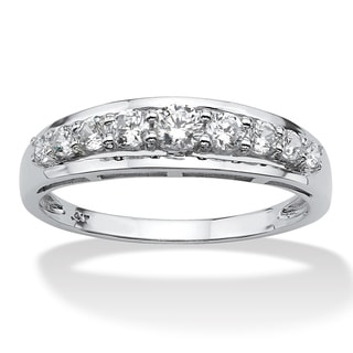 .93 TCW Round Cubic Zirconia Ring in 10k White Gold Classic CZ