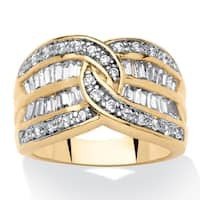 14K Yellow Gold-plated Cubic Zirconia Channel Set Engagement Ring - White