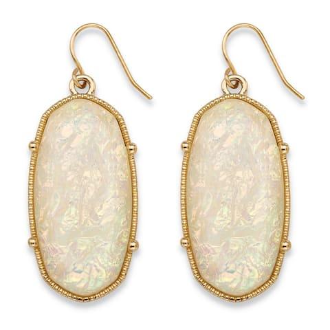 "Oval-Cut Aurora Borealis Simulated Opal Drop Earrings in Gold Tone 1"" Color Fun"