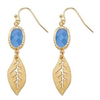 Blue Oval Bezel-Set Crystal Gold Tone Cutout Textured Leaf Drop Earrings (45mm) Bold Fashion