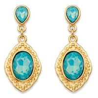 Oval Simulated Blue Aquamarine Gold Tone Vintage-Inspired Faceted Drop Earrings (44mm) Bold Fashion
