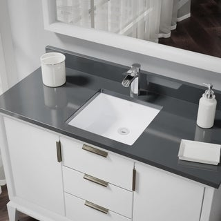 R2-1003-W White Square Porcelain Bathroom Sink with Standard Pop-Up Drain