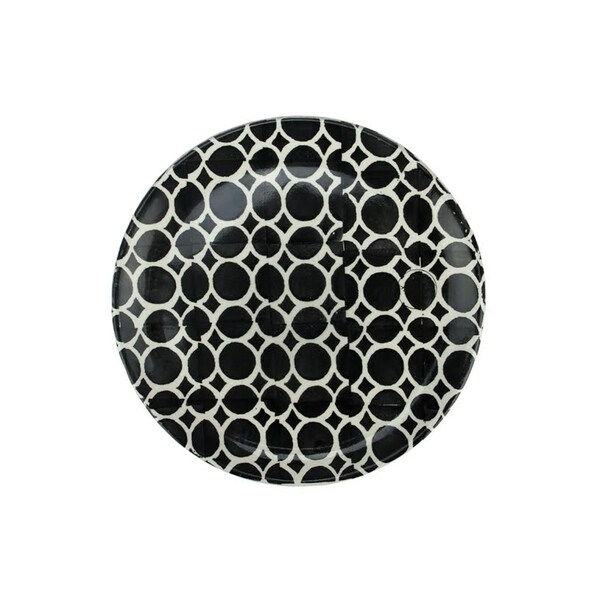 Basic Luxury Decorative White Circles on Black Round Terracotta Dinner Plate 9.25""