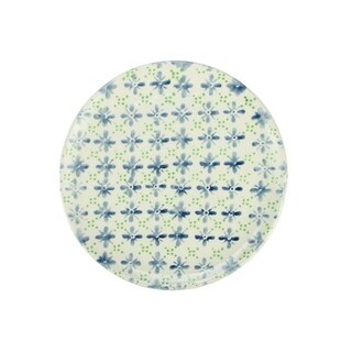"""French Countryside Decorative Blue and Green Flower Round Terracotta Dinner Plate 9.25"""""""