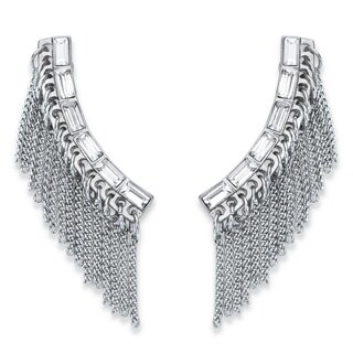 White Crystal Baguette Silvertone Chain Fringe Ear Climber Earrings (38mm) Bold Fashion