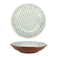 """12.25"""" French Countryside Decorative Green and Blue Flower Round Terracotta Bowl"""