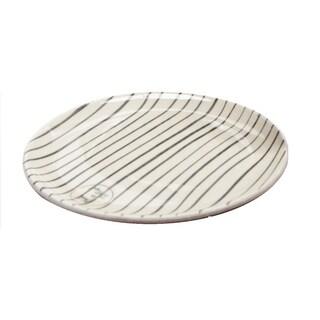 "Basic Luxury Decorative Black Stripes on White Round Terracotta Dessert Salad Plate 6.5"""