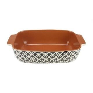 "12"" Basic Luxury Decorative Black and White Diamond Rectangular Terracotta Oven Baking Dish"