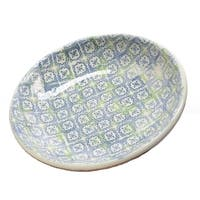 """12.25"""" French Countryside Decorative Blue Flower and Green Cross Round Terracotta Bowl"""