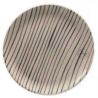 "Basic Luxury Decorative Black Stripes on White Round Terracotta Dinner Plate 9.25"""