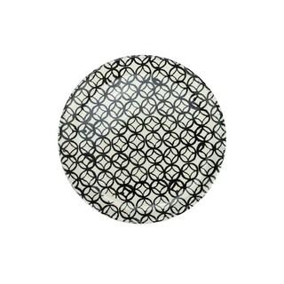 "Basic Luxury Decorative Black Circled Diamonds on White Round Terracotta Dinner Plate 9.25"""