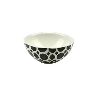 "5.75"" Basic Luxury Decorative Black Circles on White Round Terracotta Serving Bowl"