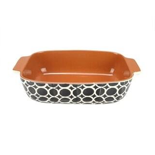 """12"""" Basic Luxury Decorative Black and White Circle Rectangular Terracotta Oven Baking Dish"""