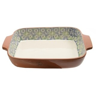 """14"""" French Countryside Decorative Blue Flower and Green Cross Rectangular Terracotta Oven Dish"""