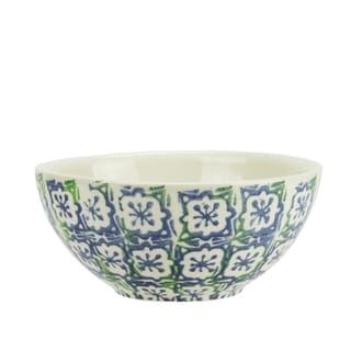 """5.75"""" French Countryside Natural Blue and Green Floral Terracotta Serving Bowl"""