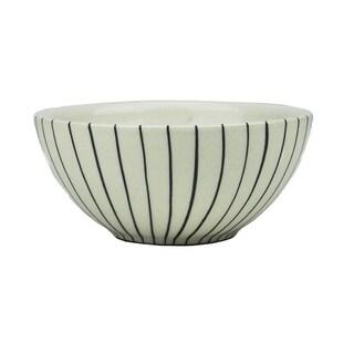 "5.75"" Basic Luxury Decorative Black Stripes on White Round Terracotta Serving Bowl"