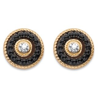 """Round Crystal and Black Beaded 14k Gold-Plated Halo Button Earrings 8"""" Bold Fashion"""