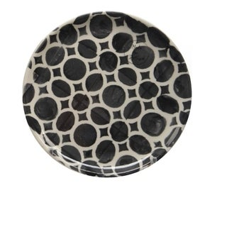 "Basic Luxury Decorative White Circles on Black Round Terracotta Dessert Salad Plate 6.5"""