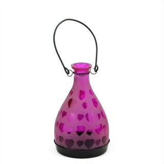 """6.25"""" Frosted Pink Hearts Glass Bottle Tea Light Candle Lantern Decoration"""