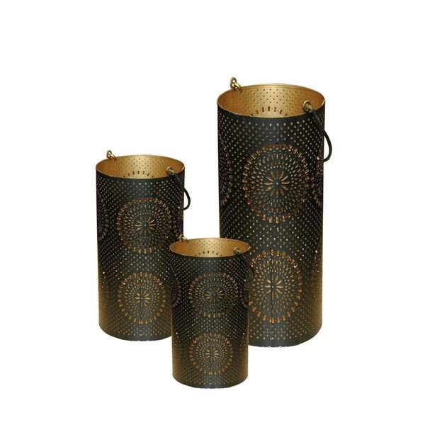 shop set of 3 black and gold decorative floral cut out pillar candle lanterns 12 5 free. Black Bedroom Furniture Sets. Home Design Ideas