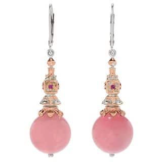 Michael Valitutti Palladium Silver Paris Rose Quartz Bead & Ruby Drop Earrings|https://ak1.ostkcdn.com/images/products/16986534/P23270071.jpg?impolicy=medium