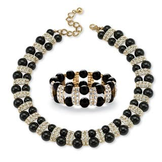 Black Beaded 2 Piece Necklace and Bracelet Set in Yellow Gold Tone Bold Fashion|https://ak1.ostkcdn.com/images/products/16986539/P23270040.jpg?impolicy=medium