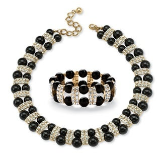 Black Beaded 2 Piece Necklace and Bracelet Set in Yellow Gold Tone Bold Fashion
