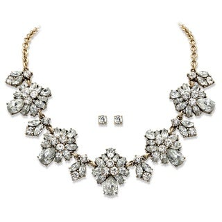 "White Crystal 2-Piece Stud Earrings and Necklace Set in Gold Tone Floral Statement Piece 18""-20"" Bold Fashion"