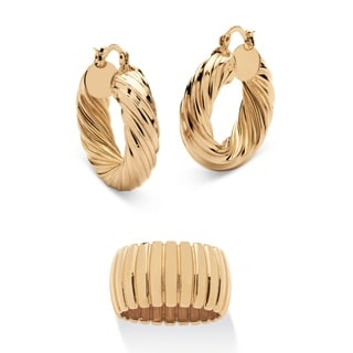 Section Dome Ring and Hoop Earrings Set in Gold Tone Tailored