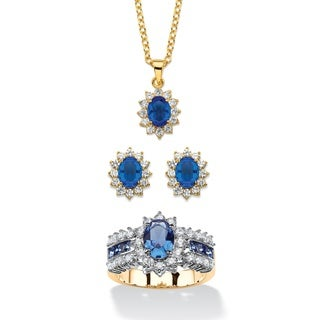 2.53 Tcw Sapphire Blue Crystal And Cubic Zirconia 3-Piece Swarovski Elements Halo Necklace, Earrings