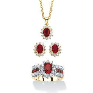 2.53 TCW Garnet Red Crystal and Cubic Zirconia 3-Piece SWAROVSKI ELEMENTS Halo Necklace, Earrings an Color Fun