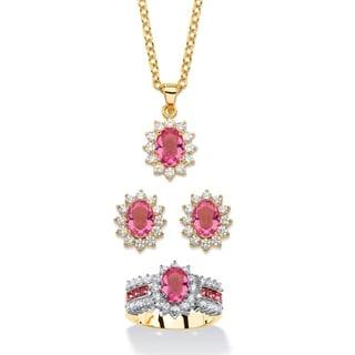 2.53 Tcw Tourmaline Pink Crystal And Cubic Zirconia 3-Piece Swarovski Elements Halo Necklace, Earrin