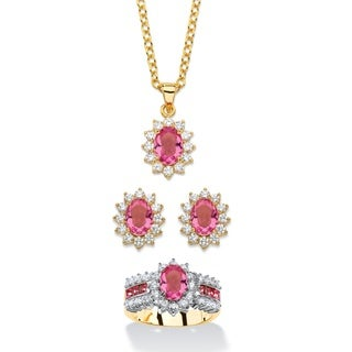 2.53 TCW Tourmaline Pink Crystal and Cubic Zirconia 3-Piece SWAROVSKI ELEMENTS Halo Necklace, Earrin Color Fun