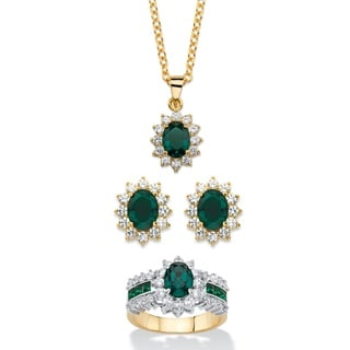 2.53 Tcw Emerald Green Crystal And Cubic Zirconia 3-Piece Swarovski Elements Halo Necklace, Earrings