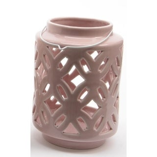 "7"" City Chic Pastel Pink Floral Cut-Out Porcelain Tea Light Candle Holder"