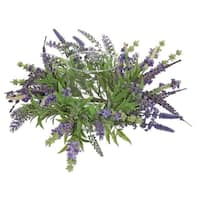 "15"" Decorative Artificial Purple Lavender Hurricane Glass Candle Holder"