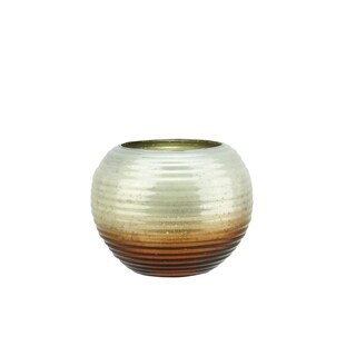 """Set of 4 Copper Brown Ombre Horizontal Ribbed Mercury Glass Decorative Votive Candle Holders 3.25"""""""