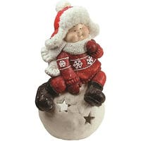 """19.25"""" Christmas Morning Young Boy on a Snowball Decorative Christmas Tealight Candle Holder"""