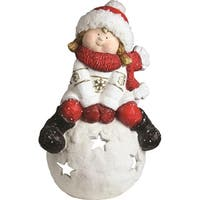 "19.25"" Christmas Morning Young Girl on a Snowball Decorative Christmas Tealight Candle Holder"