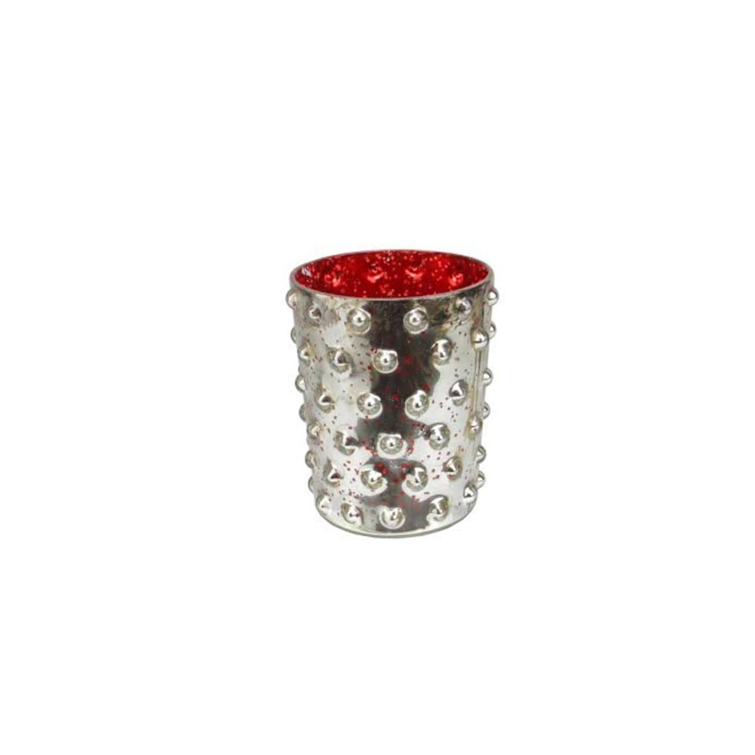 5 Red And Silver Hobnail Mercury Glass Decorative Votive Candle Holder