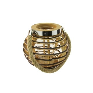 """7.5"""" Rustic Chic Round Rattan Decorative Candle Holder Lantern with Jute Handle"""