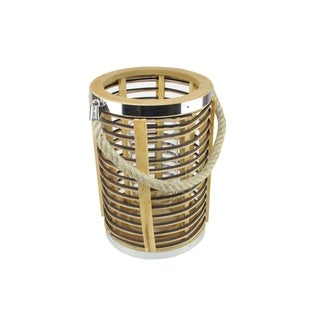 """7.5"""" Rustic Chic Cylinderical Rattan Decorative Candle Holder Lantern with Jute Handle"""
