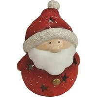 "9"" Christmas Morning Terracotta Santa Claus Decorative Christmas Tealight Candle Holder"