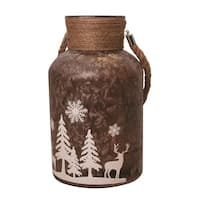 """12"""" Brown Iced White Winter Scene Decorative Christmas Pillar Candle Holder Lantern with Handle"""