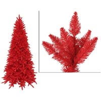 12' Pre-Lit Slim Red Ashley Spruce Artificial Christmas Tree - Red Lights