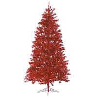7.5' Sparkle Merlot Pre-Lit Laser Tinsel Artificial Christmas Tree Merlot Lights